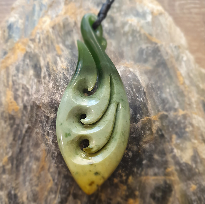 Greenstone Fish Hook Manaia Koru