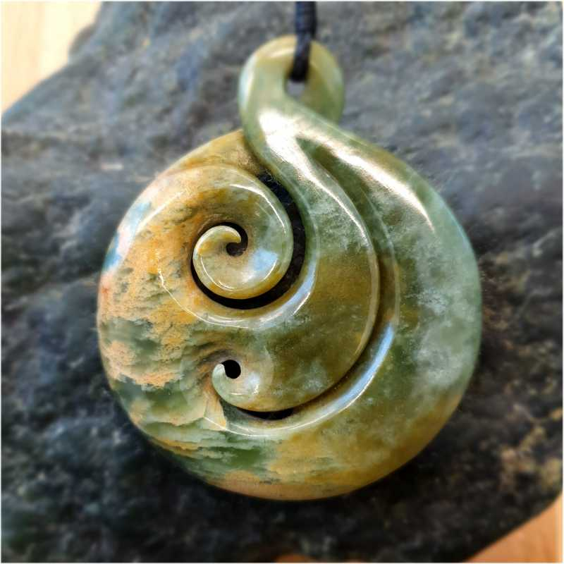 Large NZ Flower Jade 2 Koru Twist